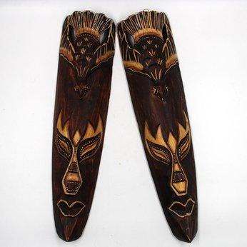 Mặt nạ Thổ Dân trang trí , điêu khắc gỗ, phong cách Tiki Bar, trang trí Quán Bar, Pub, Bia, Trà sữa, Homestay