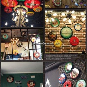 Nắp bia, nắp chai beer trang trí quán Cafe, Bia, Trà sữa, Bar, Pub - Decor treo tường phong cách Retro, Vintage - Đường kính 35cm