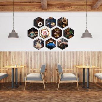 Tranh Formex 3D Nghệ Thuật Chủ đề Coffee -  Dùng Để Dán Tường, Dán Kính, Treo Tường Trang Trí quán Cafe Đẹp - Hình Ly, Hạt Cà Phê