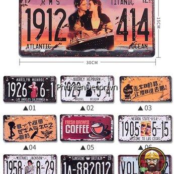 Tranh Thiếc biển số -  trang trí quán Cafe, Beer, Garage - chủ đề Biển số Xe, Ô Tô, Mô Tô 15x30cm