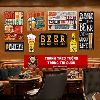 Bộ tranh treo tuờng trang trí quán Beer, Cafe Beer, Nhà hàng, Quán ăn