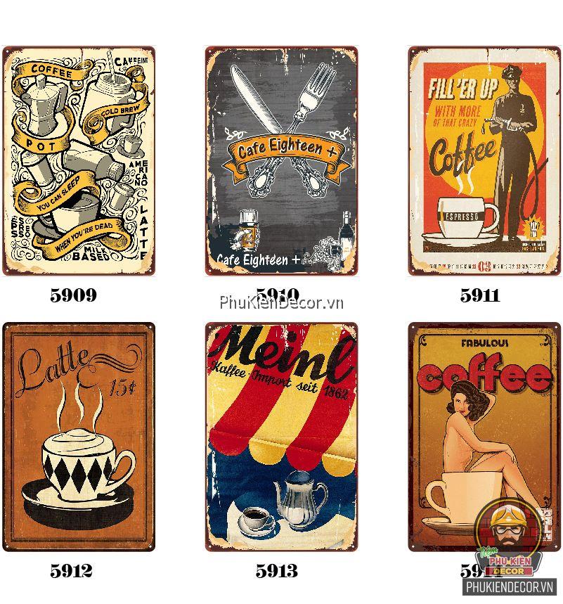 Tranh thiếc trang trí Quán Cafe - Tranh sắt decor treo tường chủ đề Coffee, phong cách Vintage, Retro kích thước 20x30cm