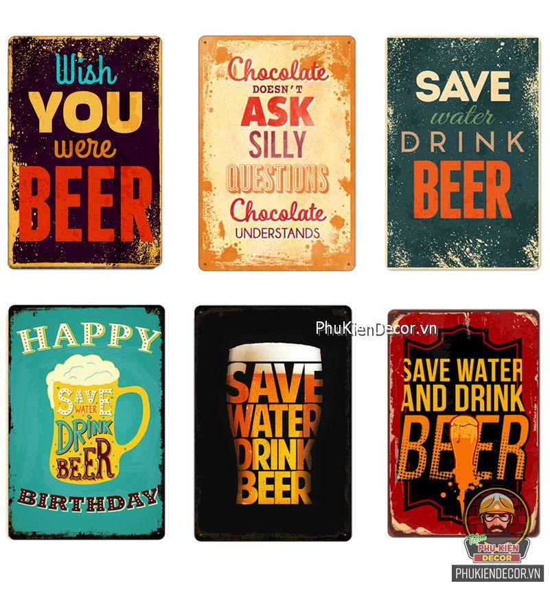 Tranh thiếc trang trí chủ đề Beer, decor quán Bia, Cafe Bia, Quán Ăn, Quán Nhậu, Bar, Pub