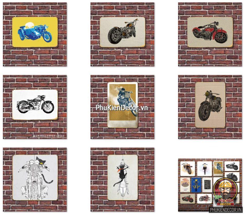 Tranh thiếc xe Mô tô, xe Phân khối lớn, xe máy Cổ - trang trí tiệm Sửa Xe, Độ Xe, Quán Cafe, Beer, Garage, Showroom