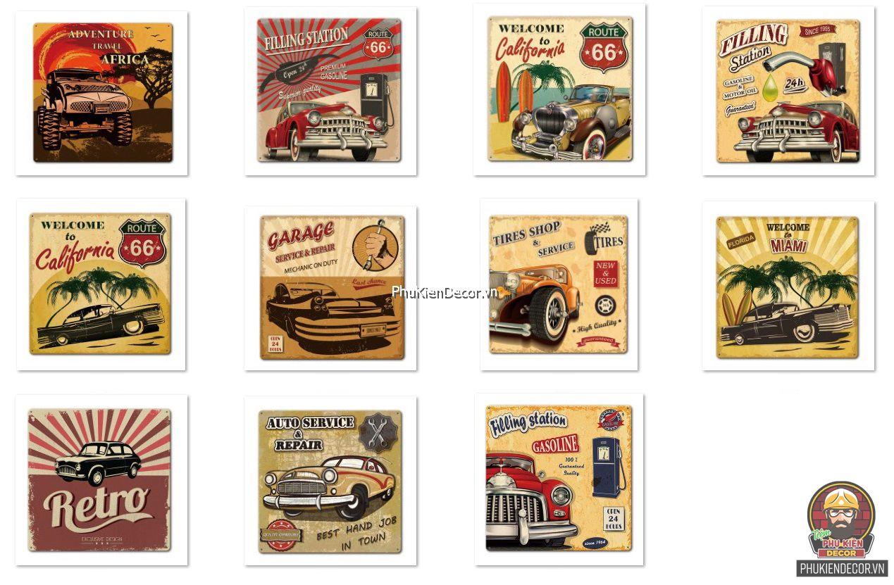 Tranh thiếc xe Ô Tô cổ, tranh Xe Vintage Retro, kích thước 30x30cm trang trí Tiệm sửa Xe, Độ Xe, Garage, Shop