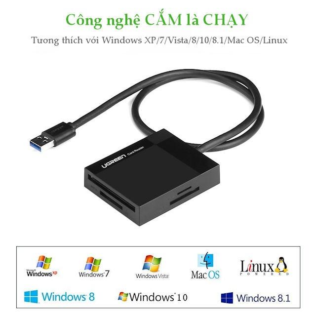 Đầu đọc thẻ nhớ USB 3.0 4 trong 1 SD/TF/CF/MS Ugreen 30229