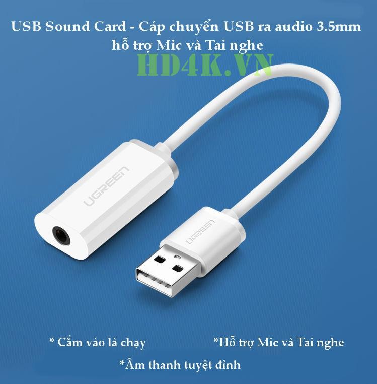 Cáp chuyển USB 2.0 to 3.5mm Ugreen 30712