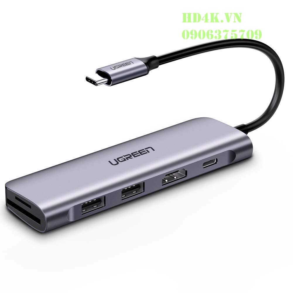 Bộ chuyển Đổi Type C Sang HDMI + USB 3.0*2 + SD/TF + PD Ugreen 70411