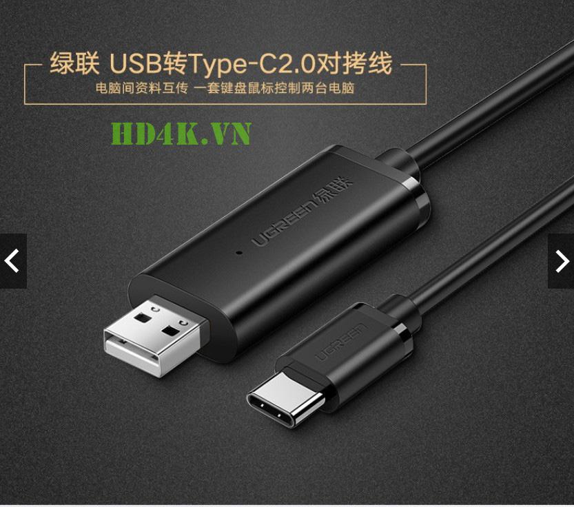 Cáp truyền dữ liệu USB 2.0 to Type C dài 2  Ugreen 70420