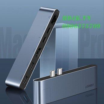 Bộ chuyển Dual USB Type C to HDMI+USB 3.0+LAN 1Gbps + Dual Type C Ugreen 50984