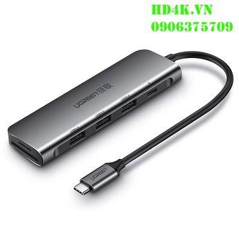 Cáp chuyển Type C to Hub USB 3.0 + Khe đọc thẻ nhớ SD/TF Ugreen 50598