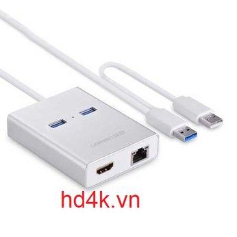 Cáp chuyển USB 3.0 to HDMI, LAN, USB  Ugreen 40255