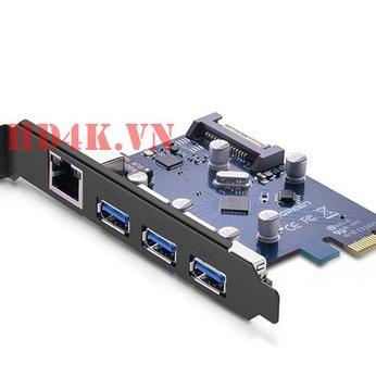 Card PCI Express sang 3 cổng USB 3.0 + Lan Gigabit 10/100/1000Mbps  Ugreen 30775