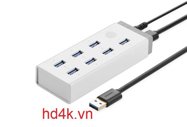 Bộ chia USB 3.0 7 cổng ugreen 20296 nguồn 12V/2A