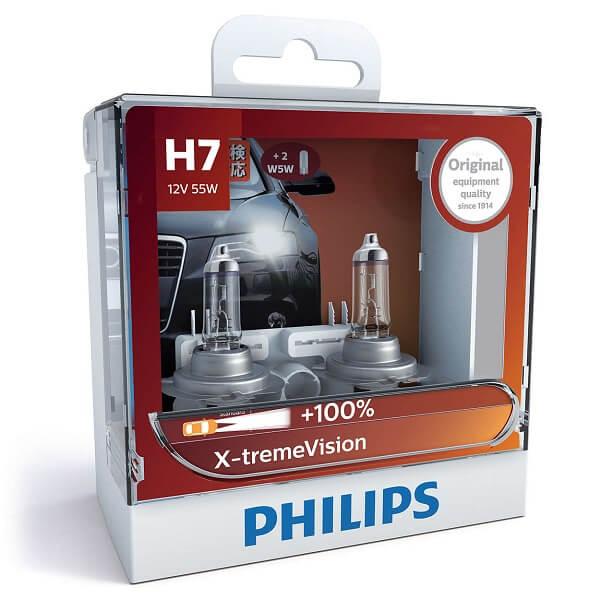 H7 12972 3500K -  Bóng đèn pha ôtô/ xe hơi Philips Halogen H7 12972 XV 12V 55W PX26D S2 tăng sáng 100%, sáng vàng 3500K