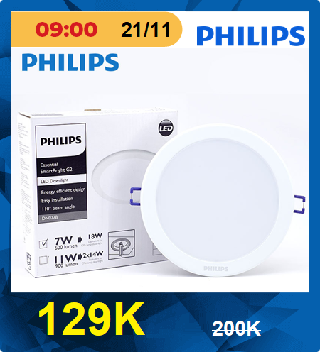 Đèn downlight âm trần Led Philips DN027B 7W LED6 D100 RD