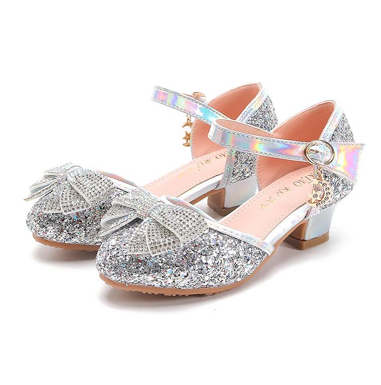 Giày cao gót công chúa đính kim tuyến lấp lánh cho bé gái