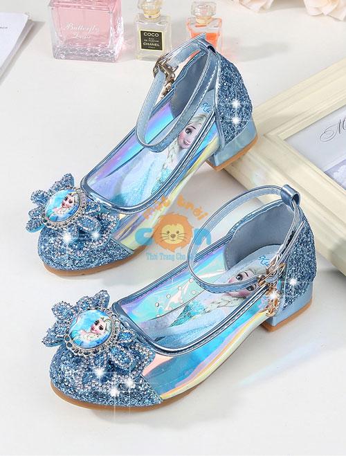 【Giày công chúa Elsa cao gót】đính đá cho bé gái (màu hồng & xanh ngọc)