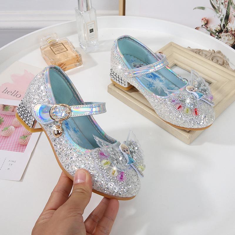 Giày elsa cao gót bít mũi cho bé gái mẫu mới 2021