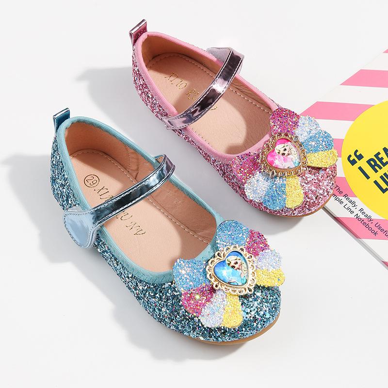 Giày búp bê công chúa Elsa đính nơ kim tyến xinh xắn cho bé 2- 4 tuổi