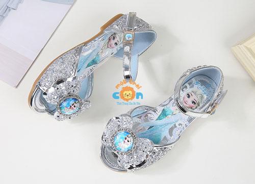 ✅Giày công chúa Elsa đế bằng dễ thương cho bé gái (màu hồng & xanh ngọc, bạc)