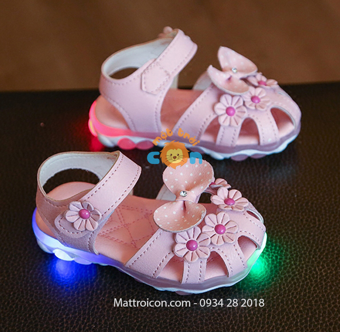 Giày tập đi bé gái bé gái 1 tuổi có đèn led màu hồng