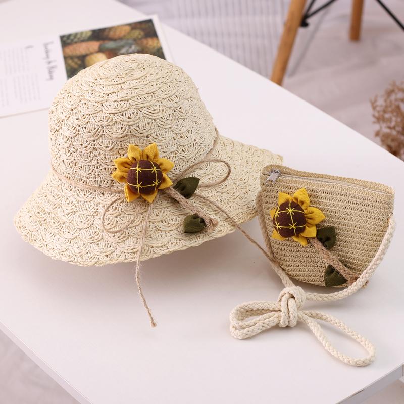 Combo mũ rộng vành &  Túi cho Mẹ & Bé gái hình hoa hướng dương siêu dễ thương