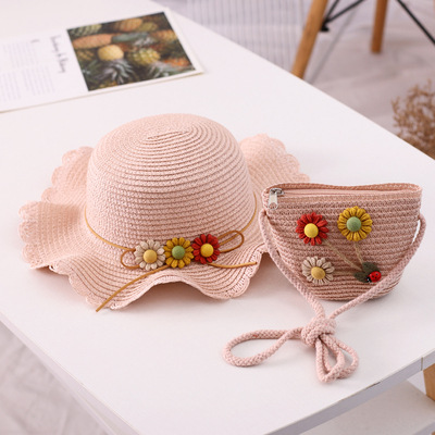 Combo mũ rộng vành đi biển & túi xách siêu dễ thương cho bé gái