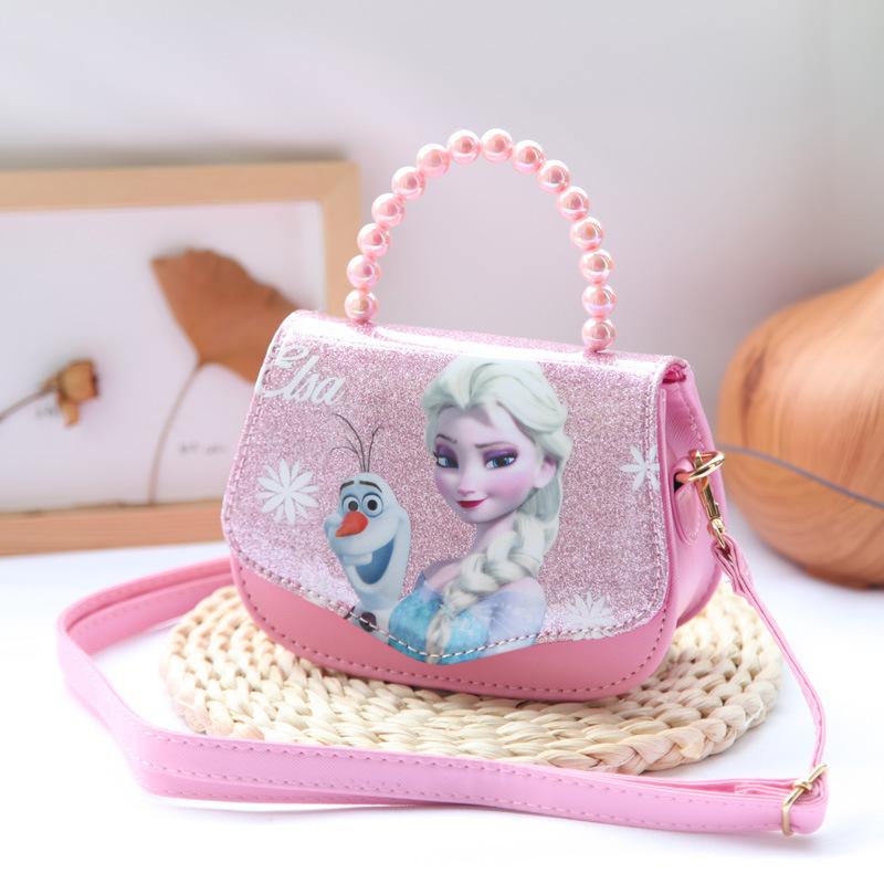 Túi đeo chéo và xách tay hạt châu tròn hình công chúa Elsa Frozen kim tuyến cho bé gái (Disney)