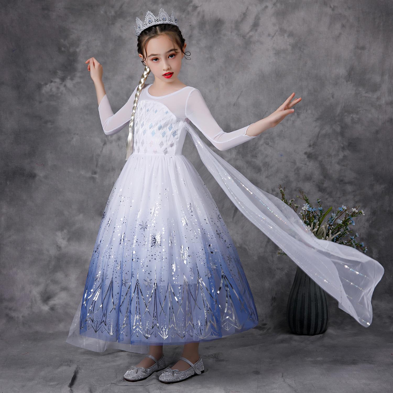 Váy Nữ hoàng Elsa kèm tà dài cho bé gái 3-11 tuổi - Mẫu mới nhất 2021 (Frozen 2)