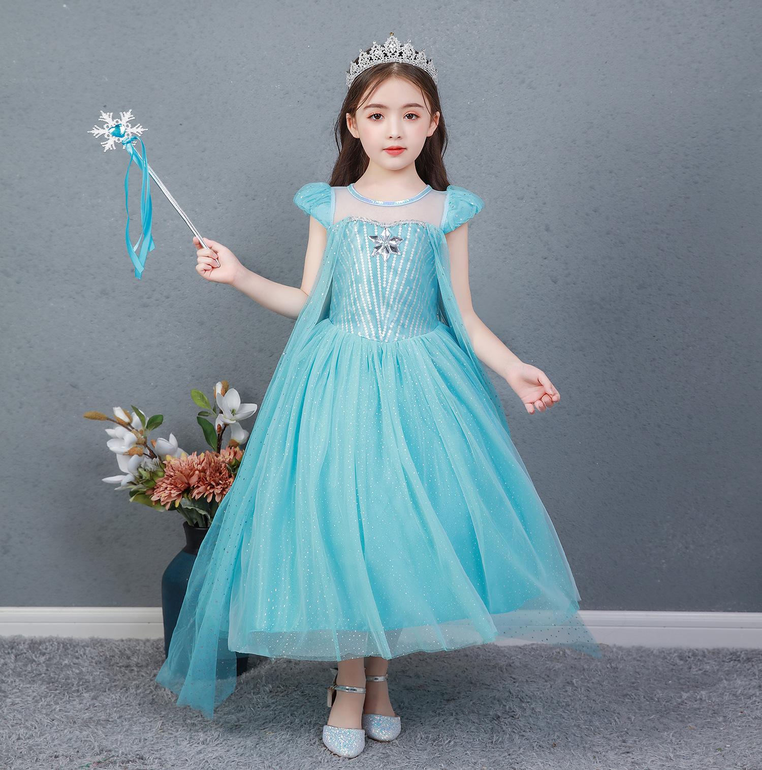 Đầm váy công chúa Elsa cho bé gái màu xanh ngọc - kèm tà - mẫu mới 2021