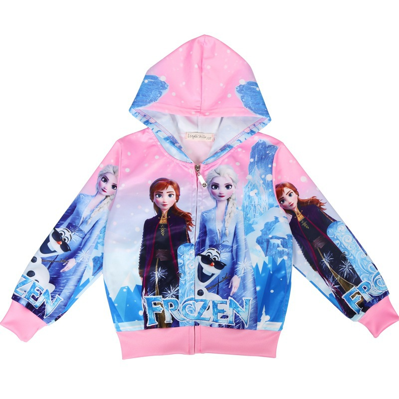 Áo khoác công chúa Elsa màu hồng, màu xanh cho bé gái 2-7 tuổi