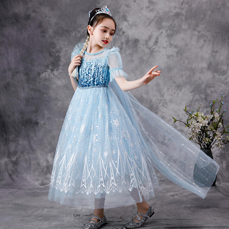 Váy Elsa màu xanh kèm tà dài cho bé gái 3-11 tuổi - Mẫu mới nhất 2021 (Frozen 2)
