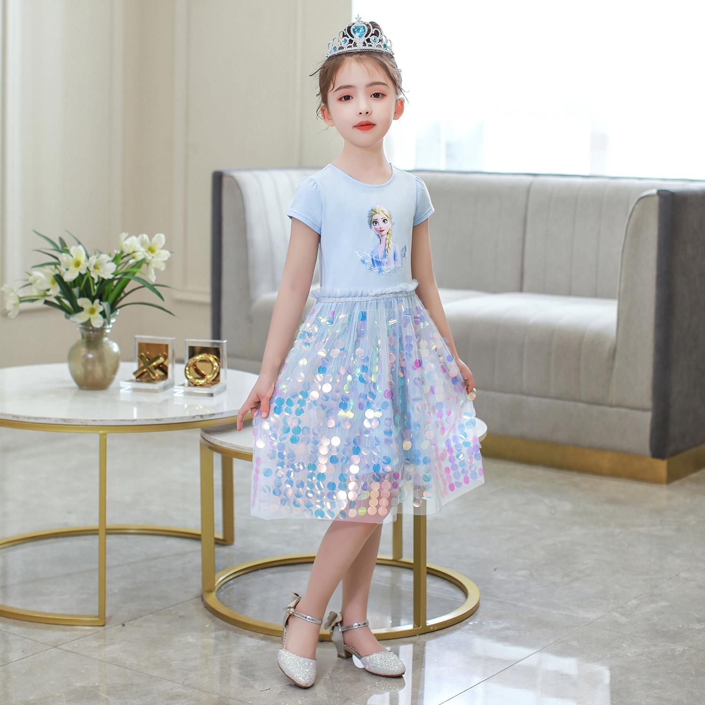 Váy elsa Màu xanh siêu dễ thương cho bé gái - Mẫu mới nhất 2020