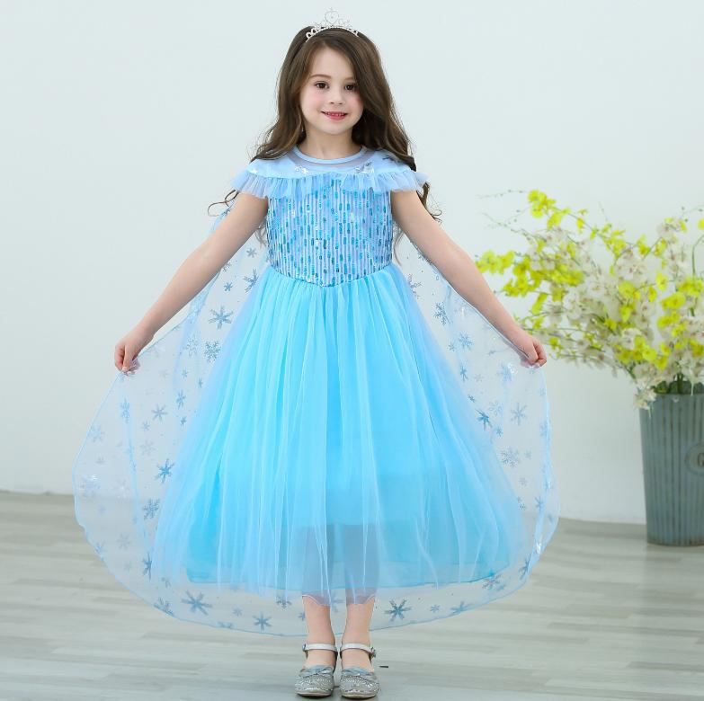 【HOT】Đầm elsa tà dài màu xanh mẫu mới cao cấp 2020 cho bé gái