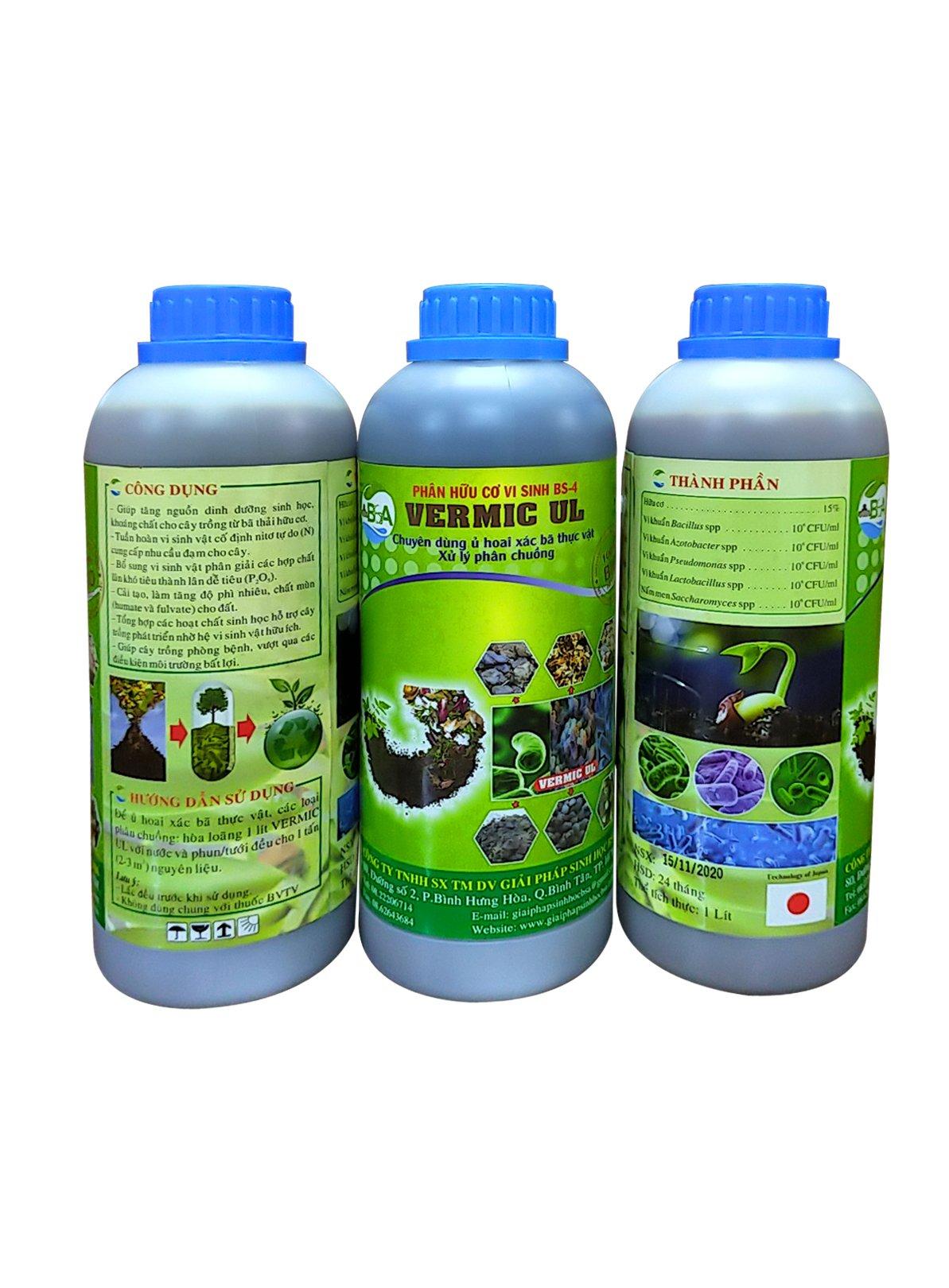 Chế phẩm sinh học Vermic UL - Men vi sinh cao cấp BSA-4 (Dạng lỏng)