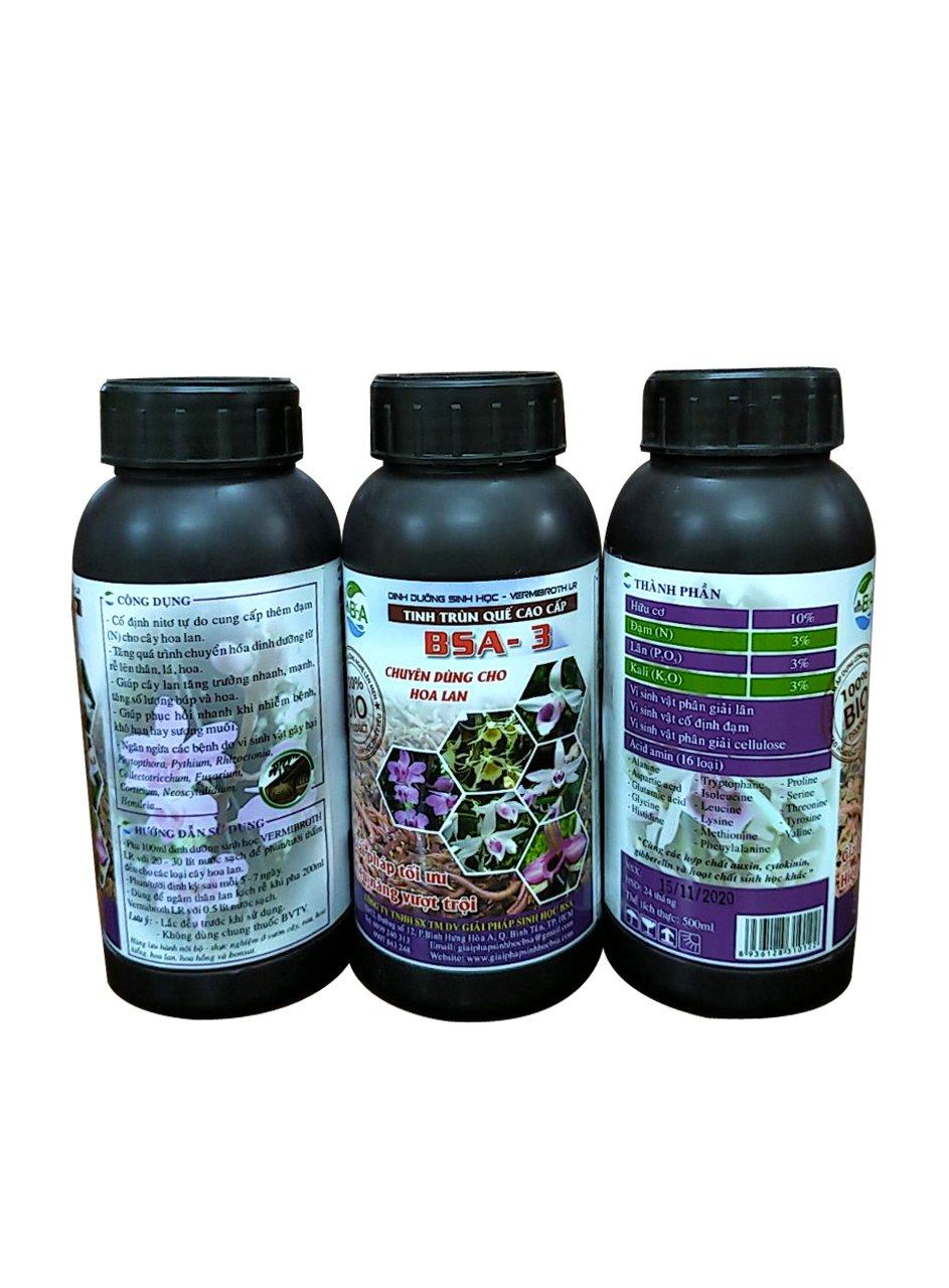 Tinh trùn quế cao cấp-Dịch trùn quế BSA-3- Dùng cho cây Lan-Chai 500ml