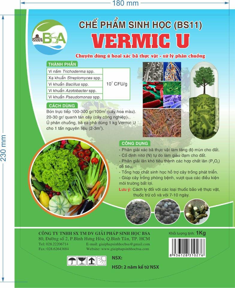 Chế phẩm sinh học Vermic U - Men vi sinh cao cấp BSA-8 Dạng bột