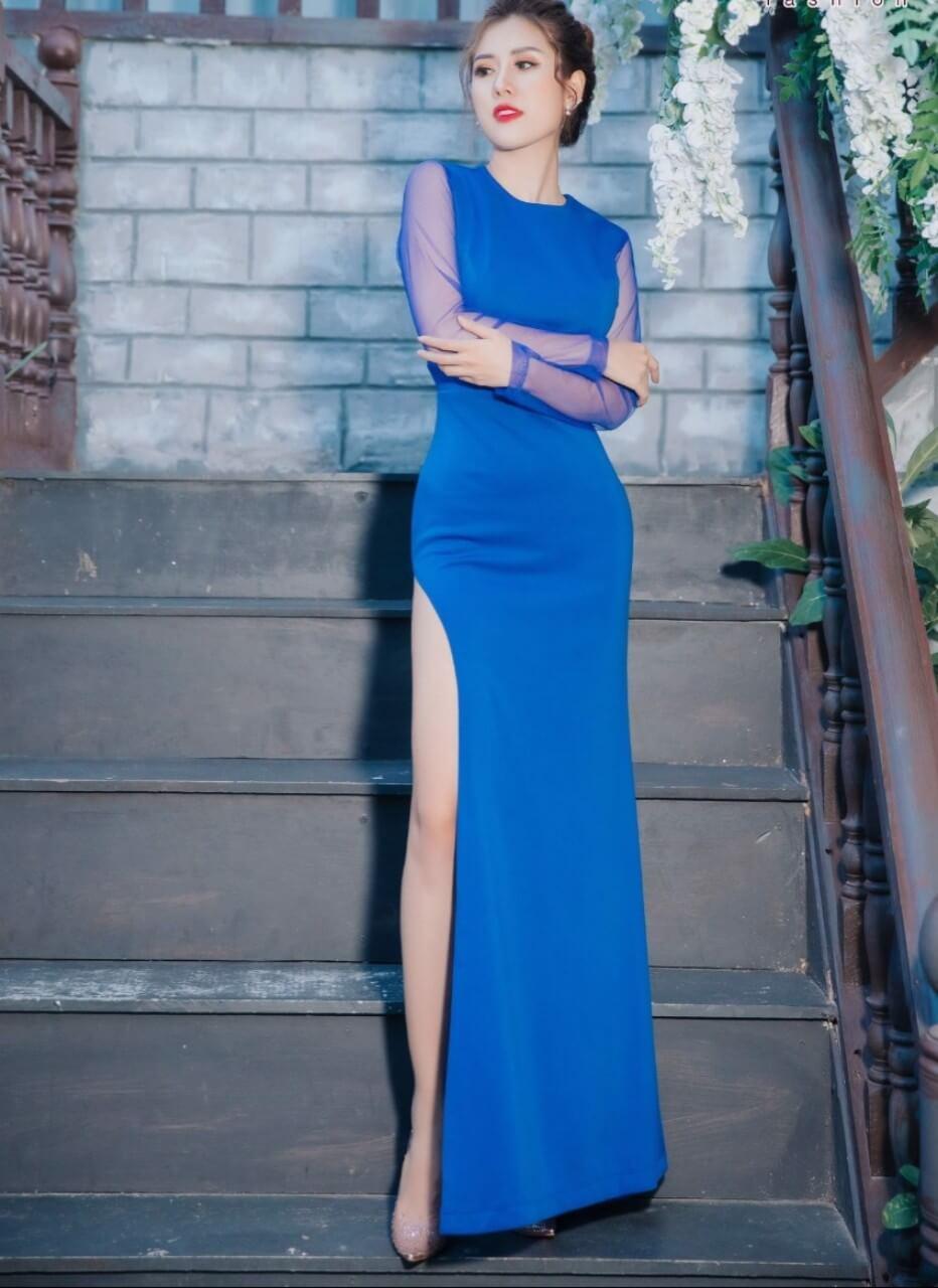 Đầm dạ hội xanh dương tay dài lưới (sale bỏ mẫu)