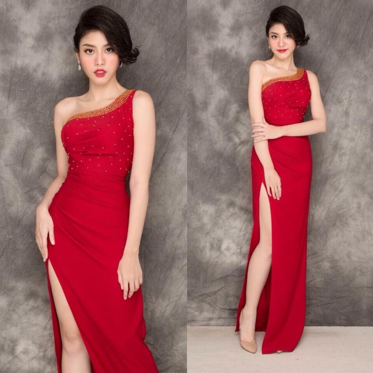 Đầm dự tiệc lệnh vai kết ngọc trai sang trọng màu đỏ