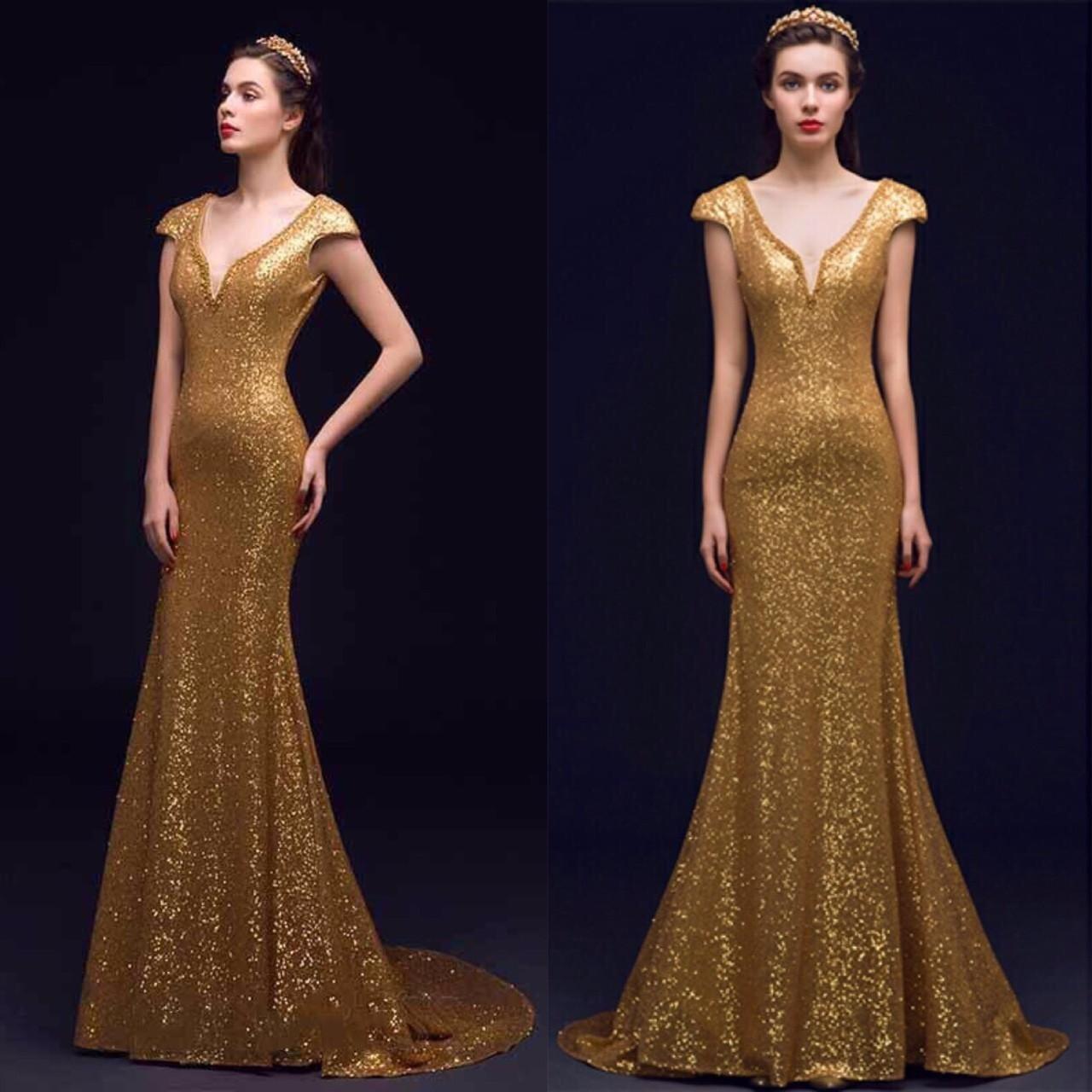 Đầm dạ hội kim sa đuôi cá kết ngọc đẹp màu vàng