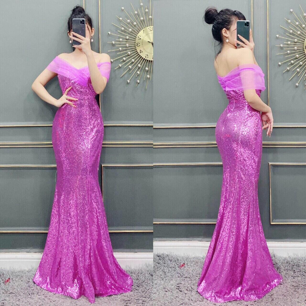 Đầm dạ hội kim sa trễ vai quyến rũ sang trọng