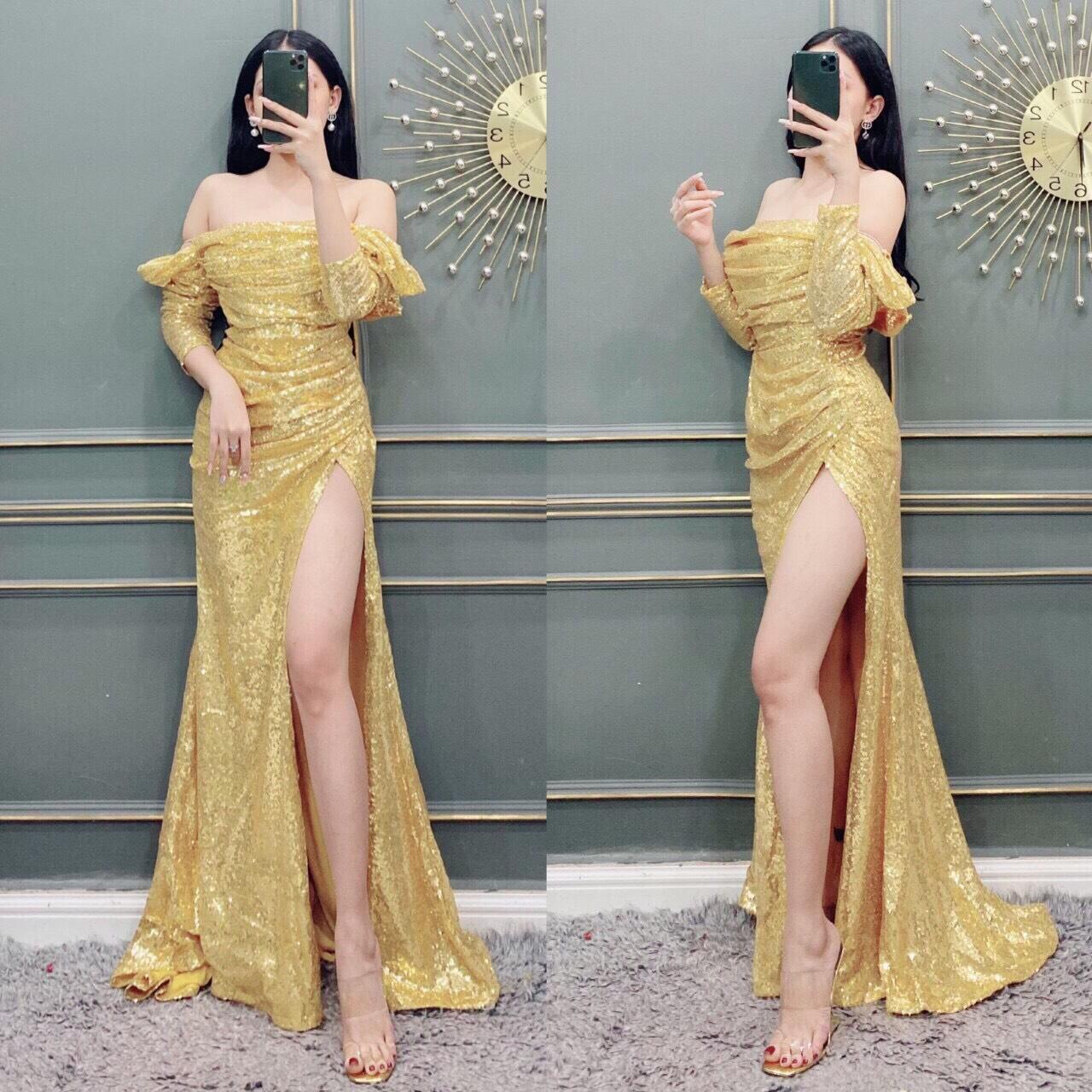 Đầm dạ hội kim sa trễ vai dài tay trẻ trung quyến rũ