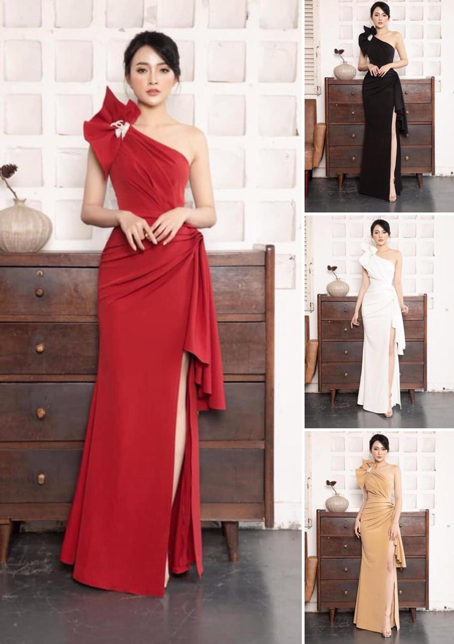 Đầm dạ hội xẻ đính tag nơ một vai