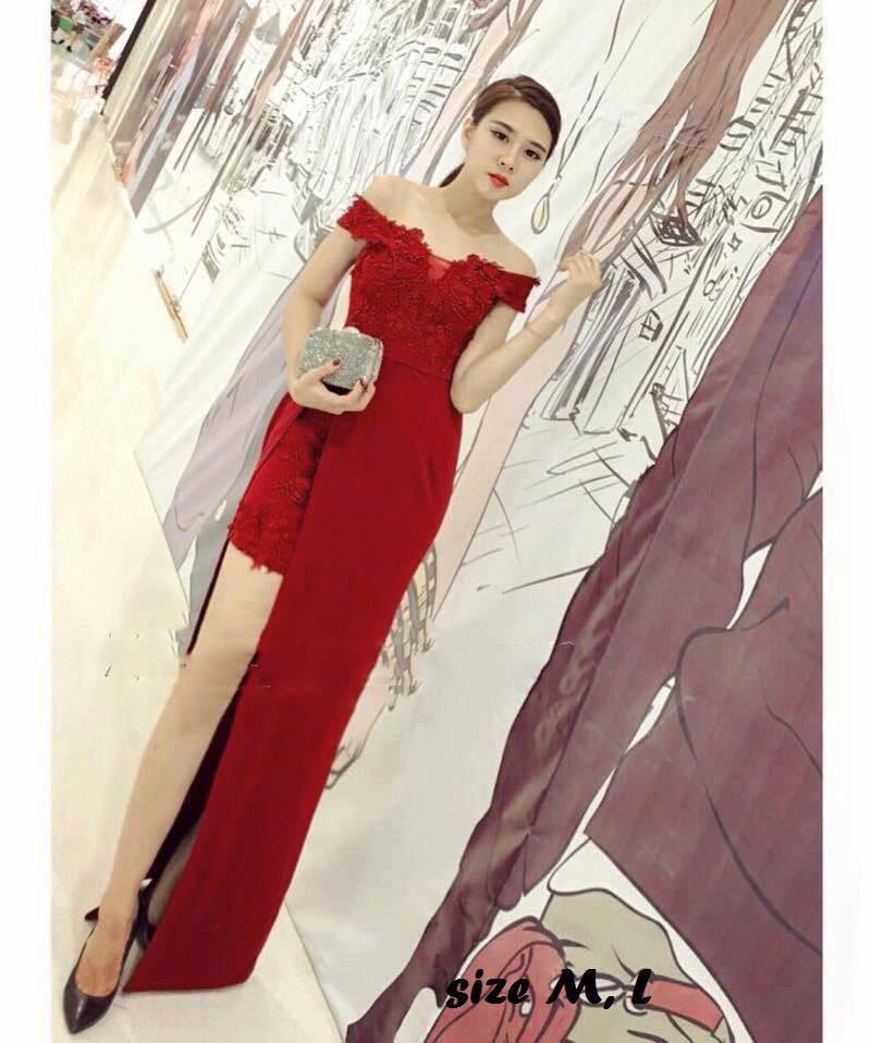 Đầm dạ hội trễ vai xẻ tà
