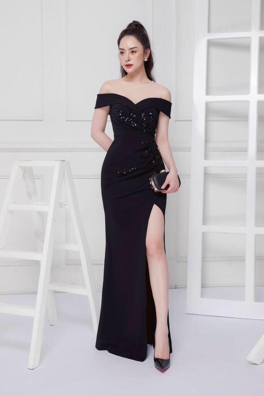 Đầm dạ hội rớt vai đính ngọc trẻ trung