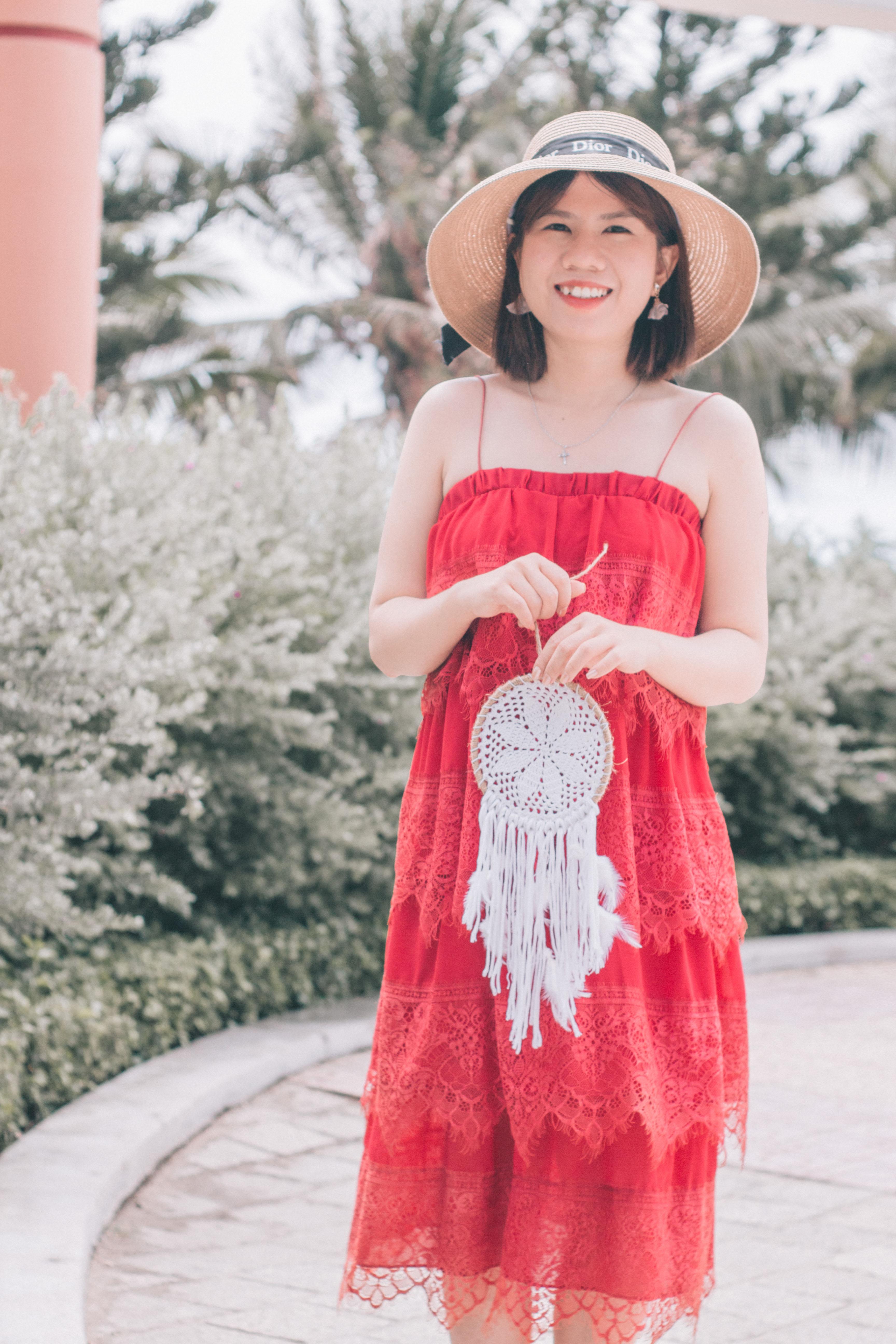 Đầm đỏ 4 tầng hai dây dáng suông dễ thương