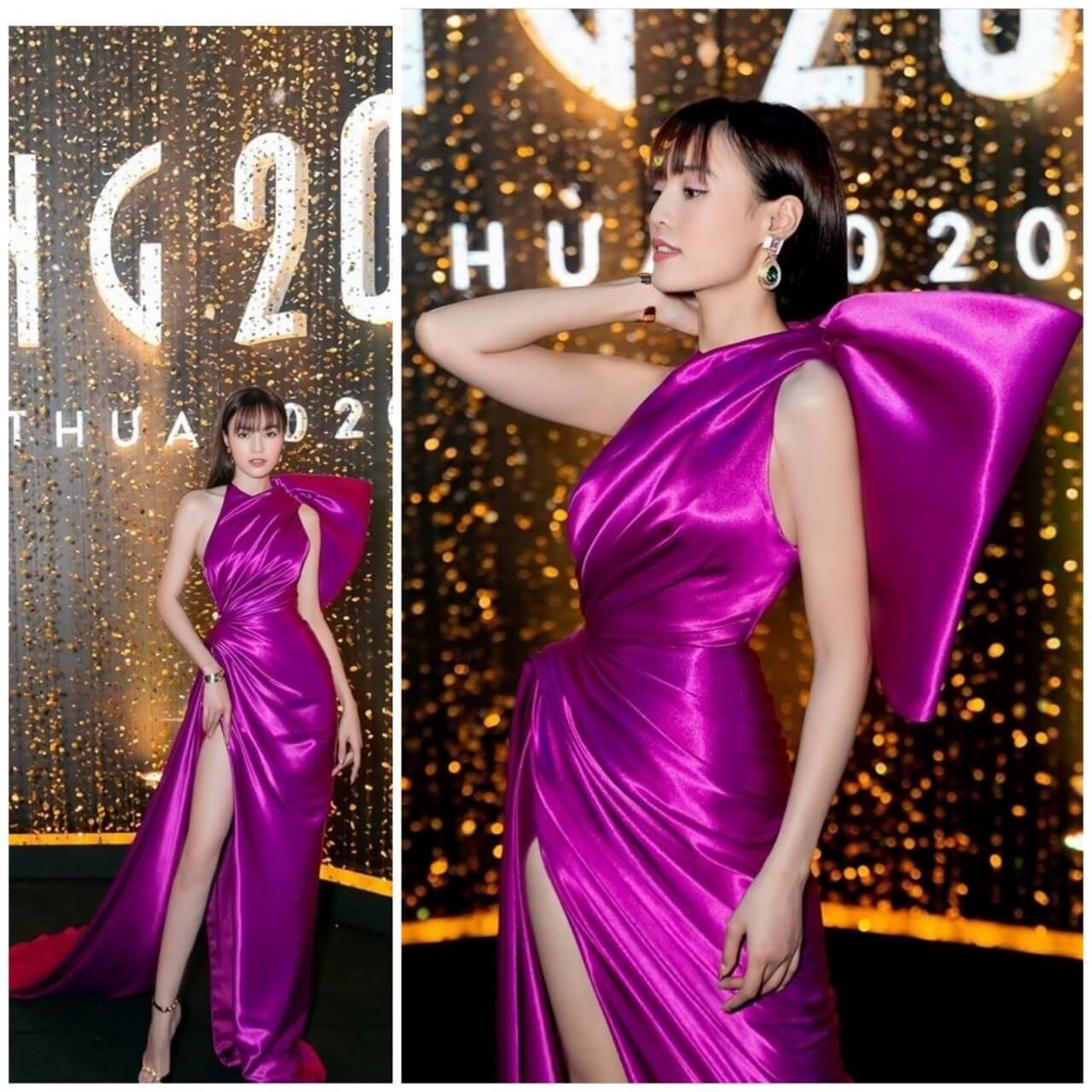Đầm dạ hội cổ yếm nơ bên trái xẻ tà nơ vai năng động