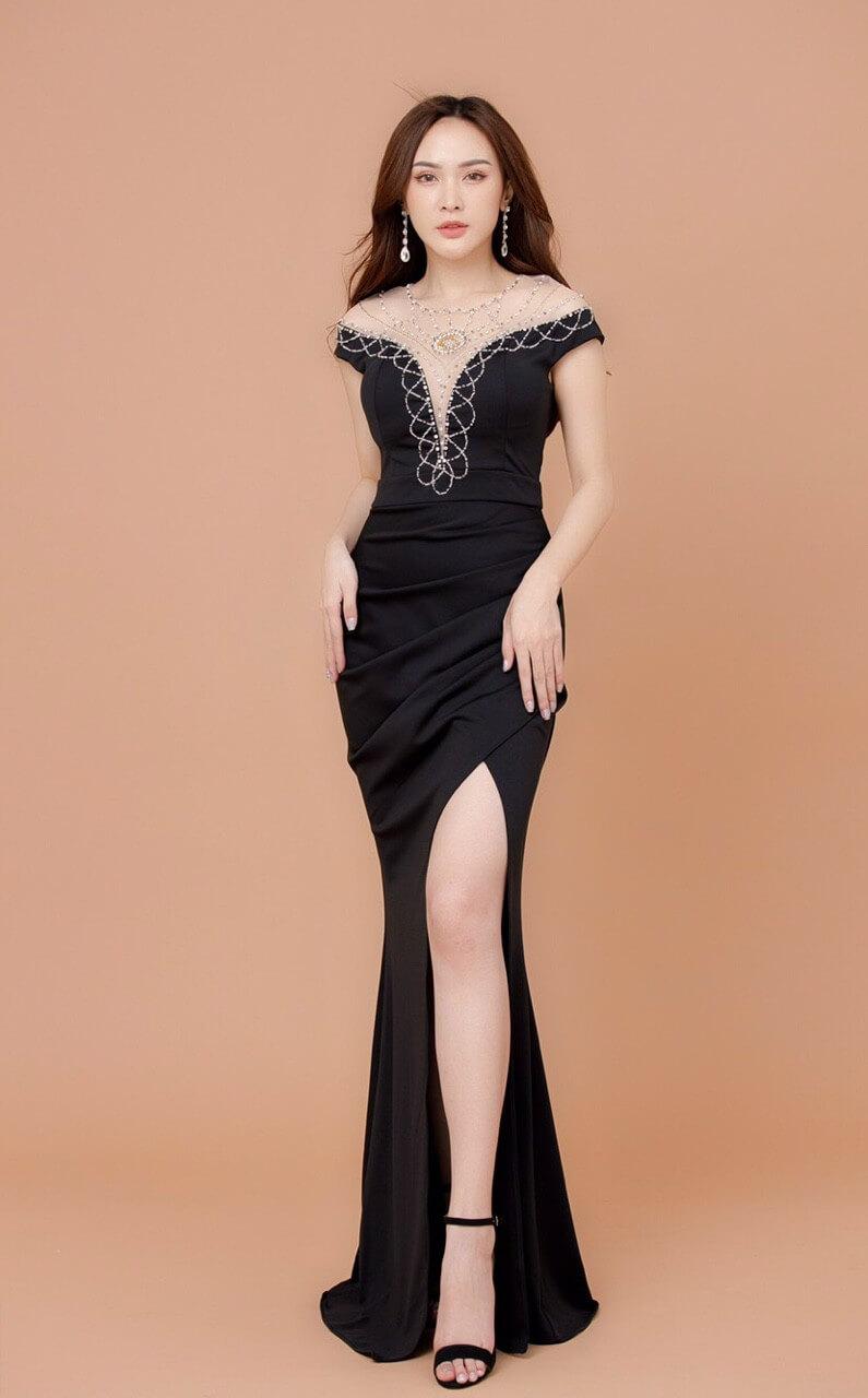 Đầm dạ hội đính pha lê nhúng eo cá tính