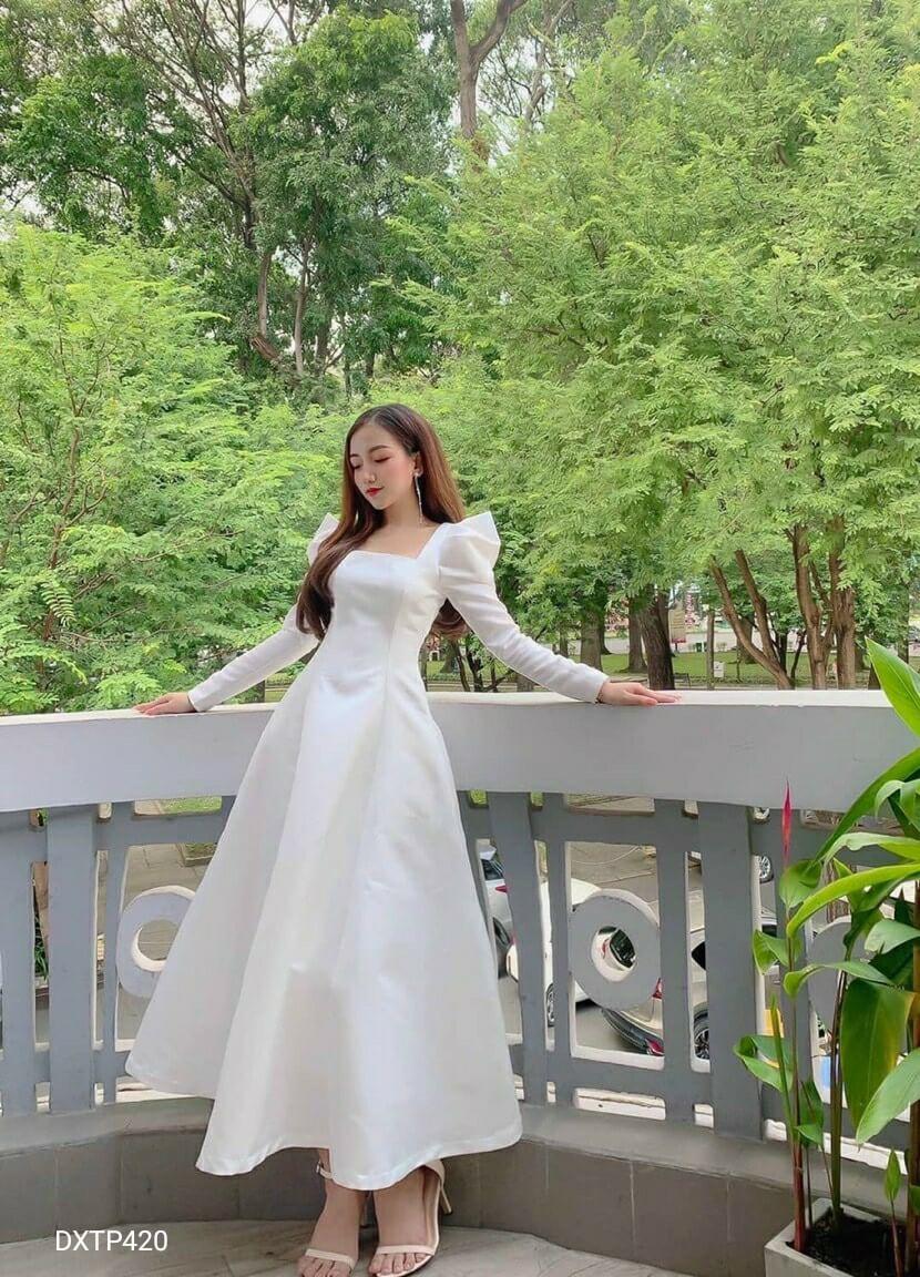Đầm xòe tay dài phồng tiểu thư